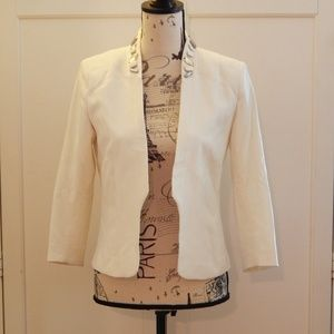 H&M Conscious White Jeweled Blazer Sz 6